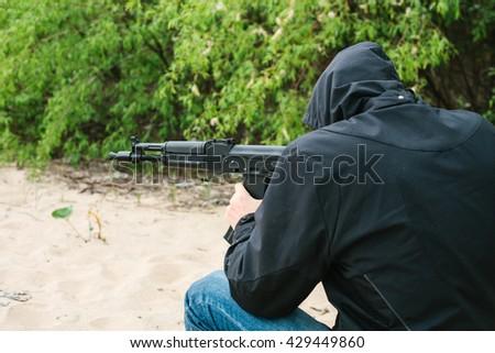 armed man.  - stock photo