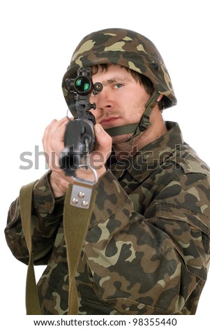 Armed man with svd in studio. Closeup - stock photo