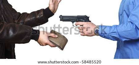 armed robbery background, casual man and businessman on white - stock photo