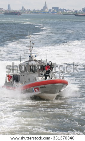 ARMED SECURITY PATROL HIGH SPEED VESSEL NEW YORK USA - CIRCA 2013 - US Coast Guard vessel on patrol in New York Harbor USA