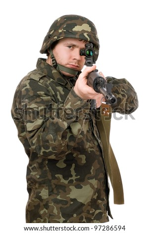Armed soldier aiming svd in studio. Isolated - stock photo