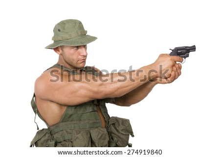 Armed soldier shooting gun isolated on white background. War, army, security and terrorism.