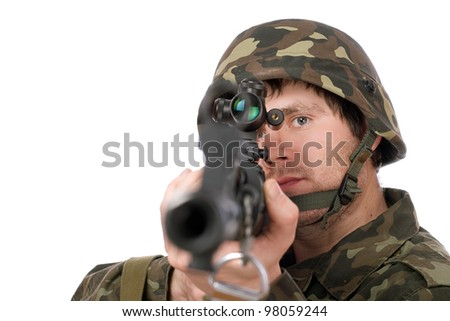 Armed soldier with svd in studio. Closeup - stock photo