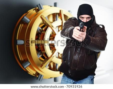 armed thief and bank golden vault door 3d - stock photo