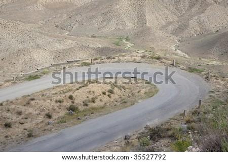 Armenia - mountain route a lot of sand - desert - stock photo