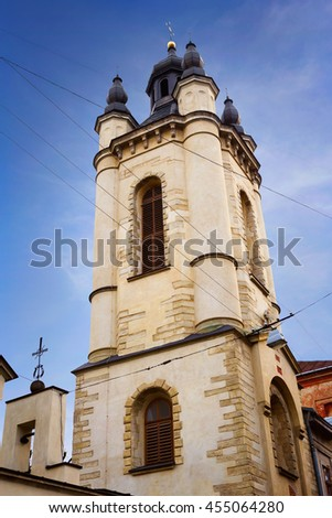 Armenian church in the center of Lviv, Ukraine. One of he most interesting touristic places of the city. - stock photo