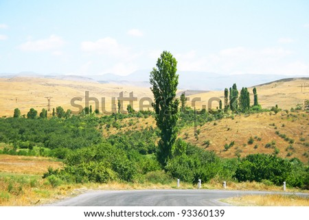 Armenian landscape with mountains and trees.