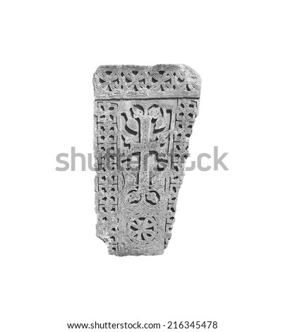 Armenian medieval cross stone in the Monastery Makaravank   in monochrome  isolated on white background  - stock photo