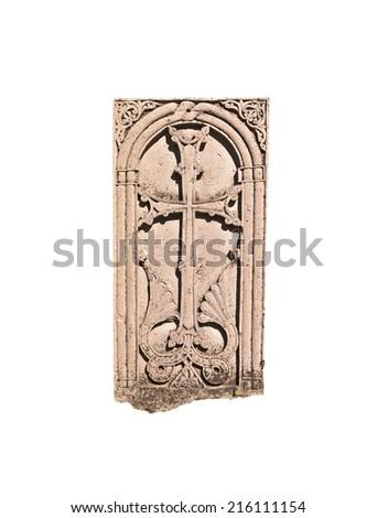 Armenian medieval cross stone in the Monastery Makaravank isolated over white background - stock photo