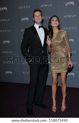 Armie Hammer and wife Elizabeth Chambers at the LACMA 2012 Art + Film Gala, LACMA, Los Angeles, CA 10-27-12