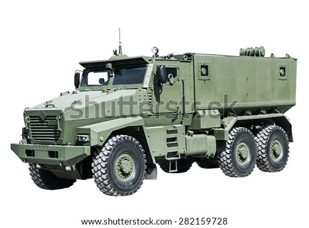 Armored Car enhanced security for the transportation of personnel. Russian military equipment - stock photo