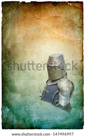 Armored knight in helmet with shield - retro postcard on poster vintage paper background