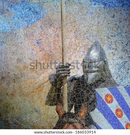 Armored knight on warhorse - retro postcard on vintage background - stock photo