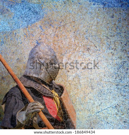 Armored knight - retro postcard on vintage paper background - stock photo