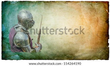 Armored knight with  battle-axe - retro postcard on landscape vintage paper background - stock photo