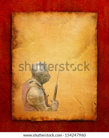 Armored knight with battle-axe - retro postcard on portrait vintage paper background