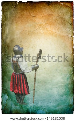 Armored knight with battle-axe - retro postcard on poster vintage paper background