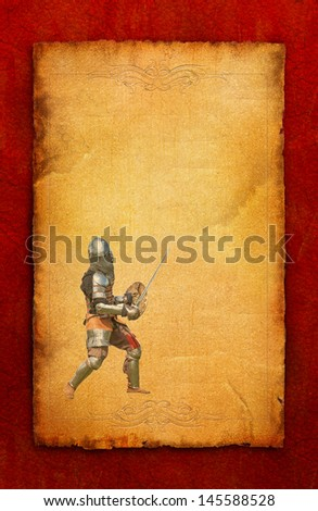 Armored knight with sword and shield - retro postcard on poster vintage paper background - stock photo