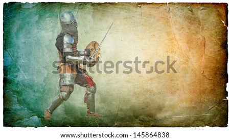 Armored knight with sword and shield - retro postcard on vintage paper background - stock photo