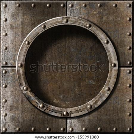 armored metal porthole background - stock photo