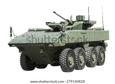 armored personnel carrier on a unified platform battle isolated on a white background. Russian military equipment. - stock photo