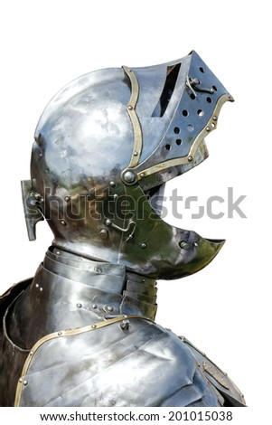 Armour of the medieval knight isolated on white  background - stock photo
