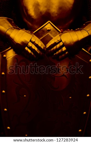 Armour of the medieval knight - with brown color - stock photo