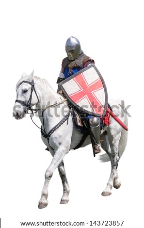 Armoured knight on white warhorse isolated on white