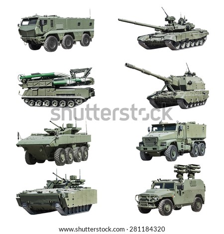 Armoured military vehicles Russia isolated on white background. Set photos - stock photo