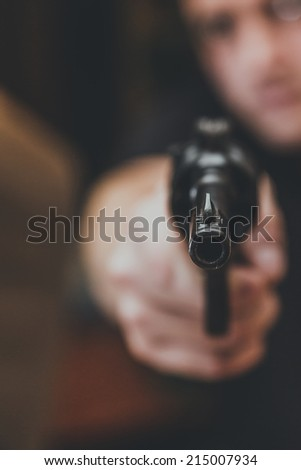 Arms and the Man, gun - stock photo