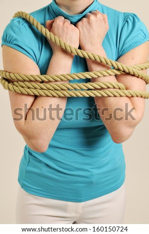arms are tied vertical - stock photo