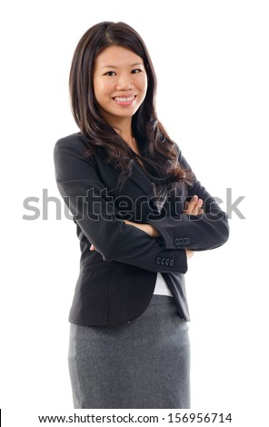 Arms crossed Asian Educational or Business woman on white background