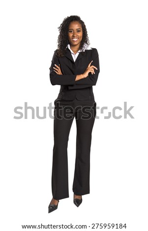 Arms crossed brazilian Educational or Business woman on white background