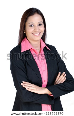 Arms crossed business woman against white  background - stock photo