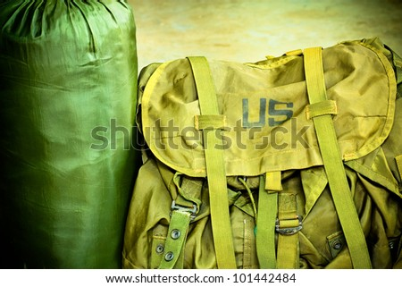 Army bag soldier - stock photo