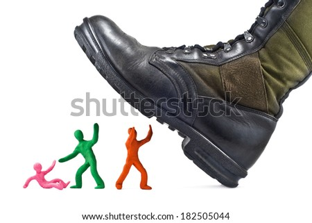 Army boots crushes plasticine people isolated on white background - stock photo