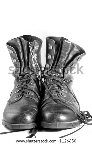 army boots isolated on white - stock photo
