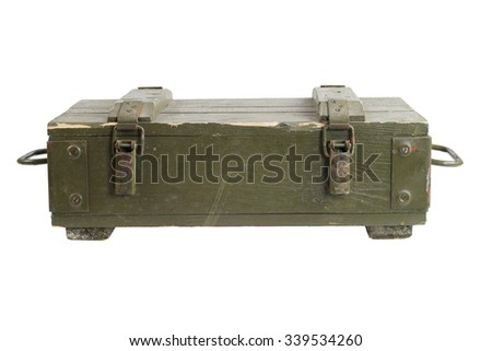 army box of ammunition isolated - stock photo