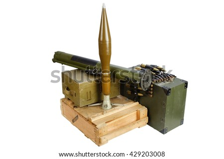 army box of ammunition with rocket-propelled grenade isolated - stock photo