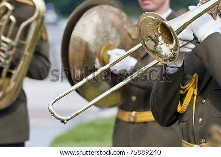 Army brass band in a military band