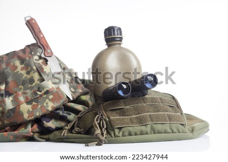 army equipment isoalted on white - stock photo