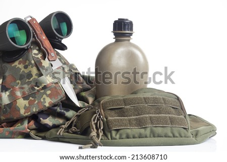 army equipment isolated on white - stock photo