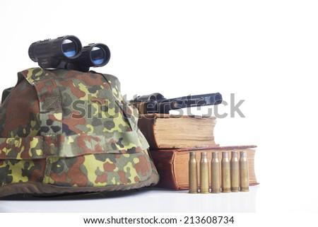 army equipment on white - stock photo