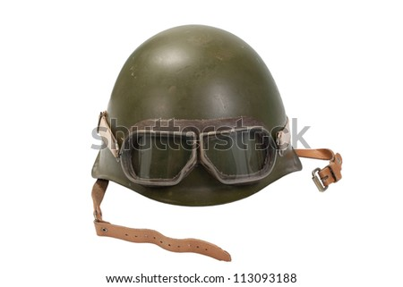 army helmet with goggles isolated on white - stock photo