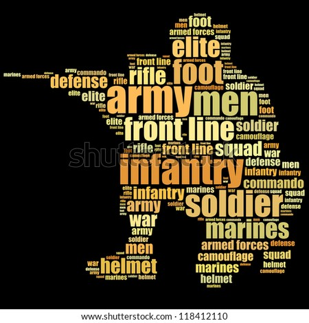 Army infantry info-text graphics and words cloud concept - stock photo