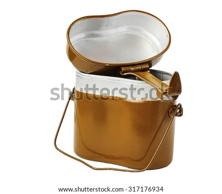 Army kettle on the isolated white background.