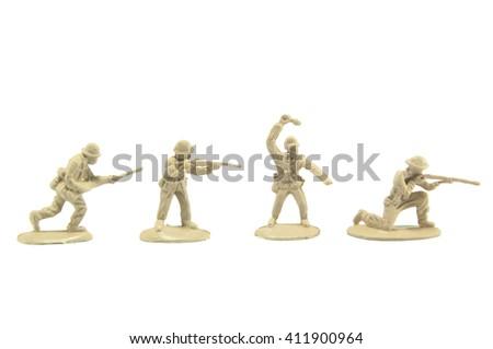 Army men on white background - stock photo