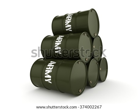 Army metal khaki barrels on white background