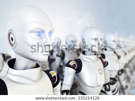 Army of robots - stock photo