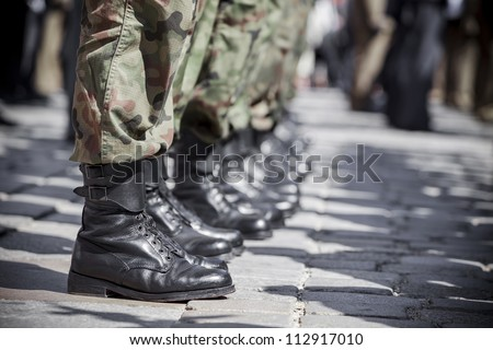 Army parade - boots close-up